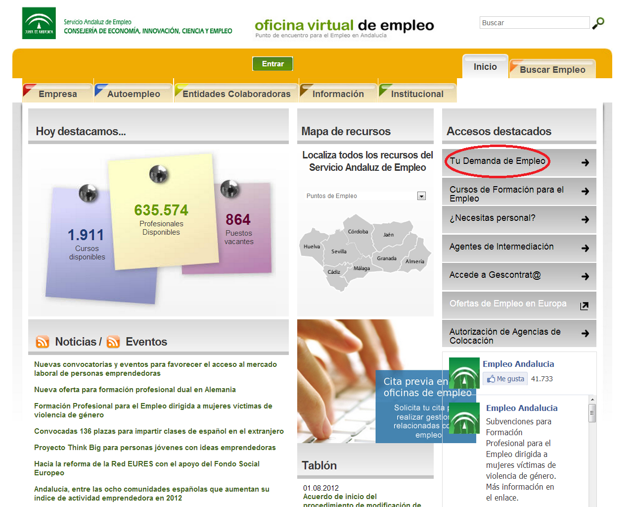 Pasos a seguir para renovar la demanda de empleo por internet tecnoinfe - Oficina de empleo andalucia ...
