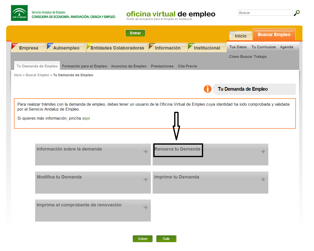Pasos a seguir para renovar la demanda de empleo por for Oficina virtual de enpleo